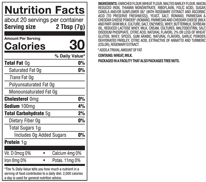 Salad croutons nutrition facts nutrition ftempo for Olive garden nutritional information